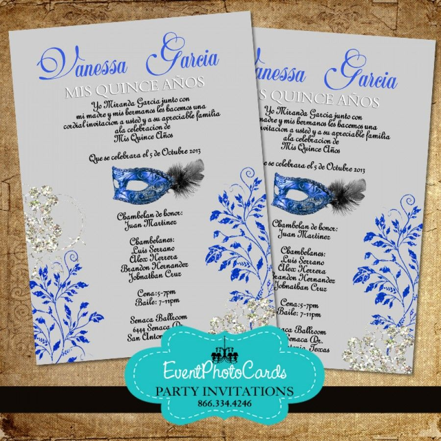 Mask Silver & Royal Blue Quinceanera Invitations | Sweet 15 ...