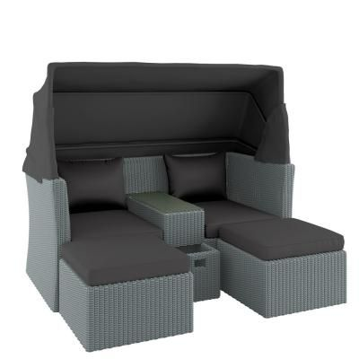 Marquis Pe Wicker Modular Outdoor Sofa Set W Canopy Grey Online Australia