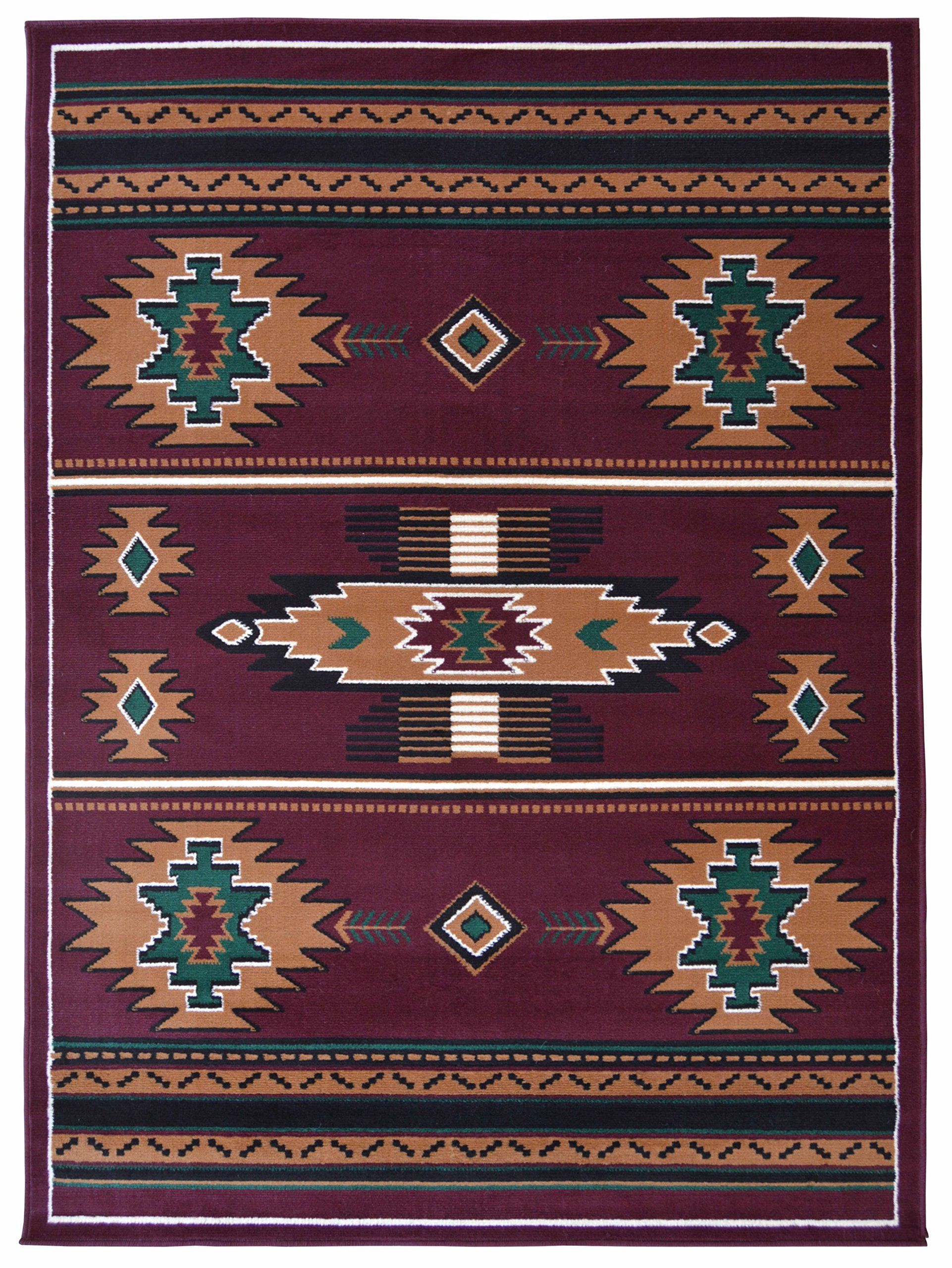 Rugs 4 Less Collection Southwest Native American Indian Area Rug Design R4l Sw3 In Burgundy