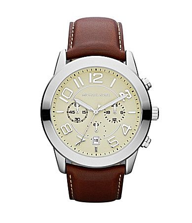 3ba52793f795 Michael Kors Mens Mercer Mahogany Leather Strap Watch  Dillards