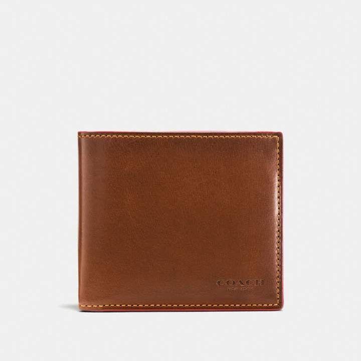NWT COACH Men Leather Double Billfold Sport Calf Wallet BLACK F75084 $150