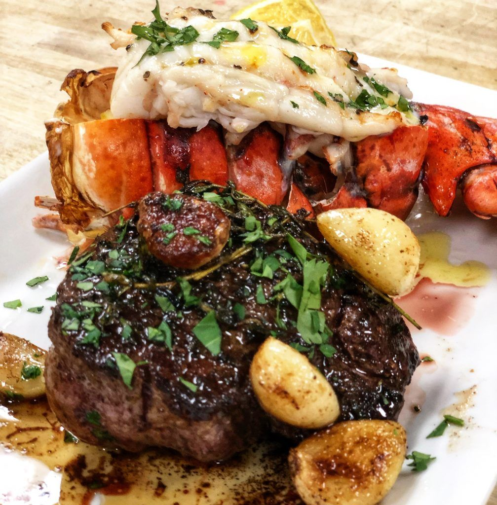 Surf And Turf Steak Lobster Land Sea Steak And Lobster Dinner Steak And Lobster Lobster Recipes Tail