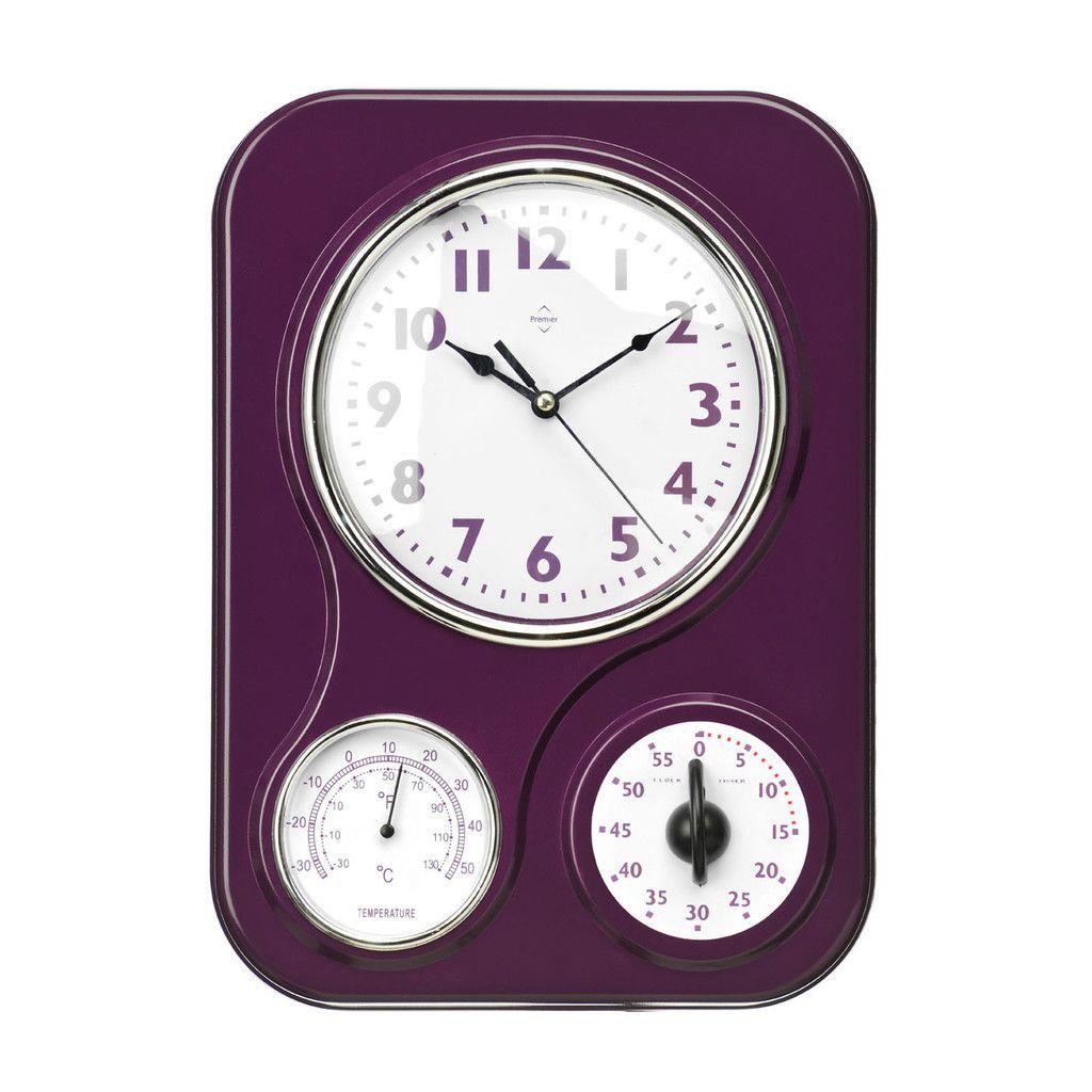 Wall Clock, Timer/Temperature Display, Purple Plastic