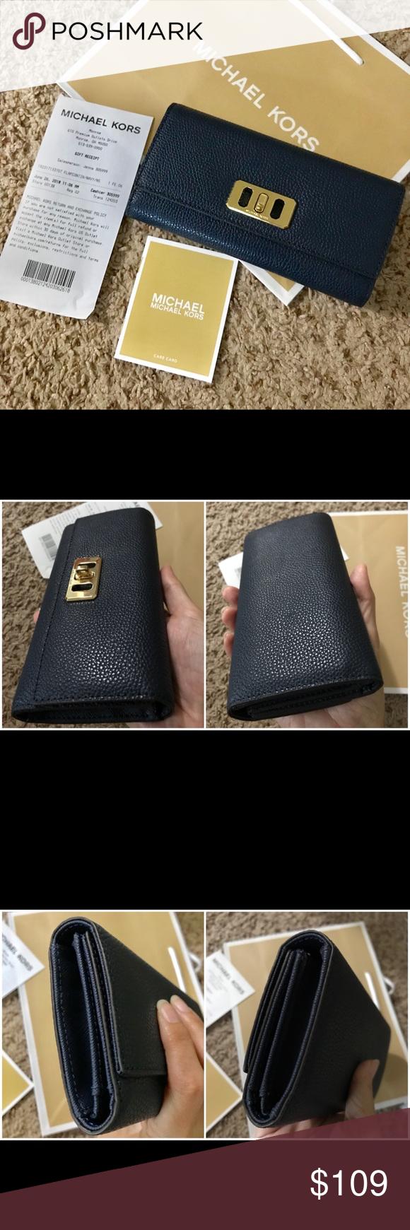 92a5bd7313c4 MICHAEL KORS Karson Flap Continent. Leather Wallet Details: - Color Navy - Trifold  Wallet