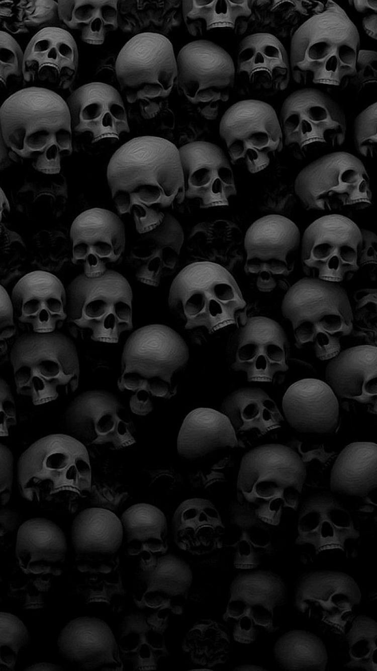 Skulls Bones Black Monochromatic Grays Phone Wallpaper Background