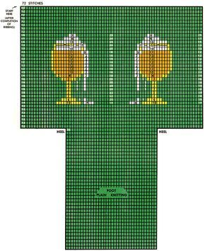 Twin Glass-o-Beer Clock Socks Pattern #72-105 chart