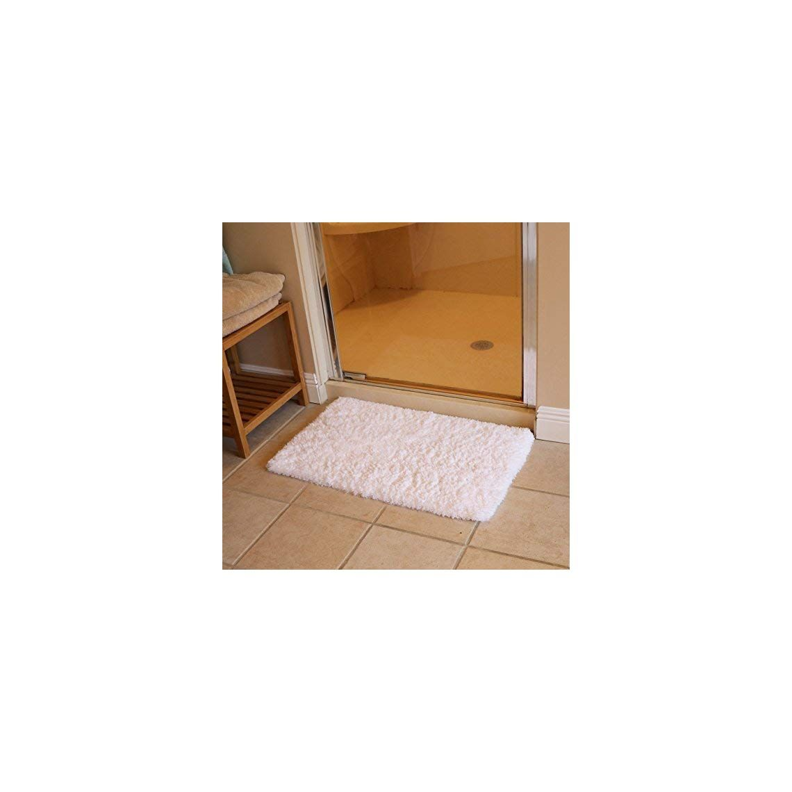 Kmat 20x32 Inch White Bath Mat Soft Shaggy Bathroom Rugs Non Slip Rubber Shower Rugs Luxury Microfiber Washable Bath Rug For Floor Bathroom Bedroom Living Room In 2020 Shaggy Bathroom Rugs