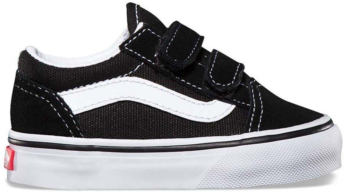 Toddler Old Skool BlackWhite Velcro Shoes