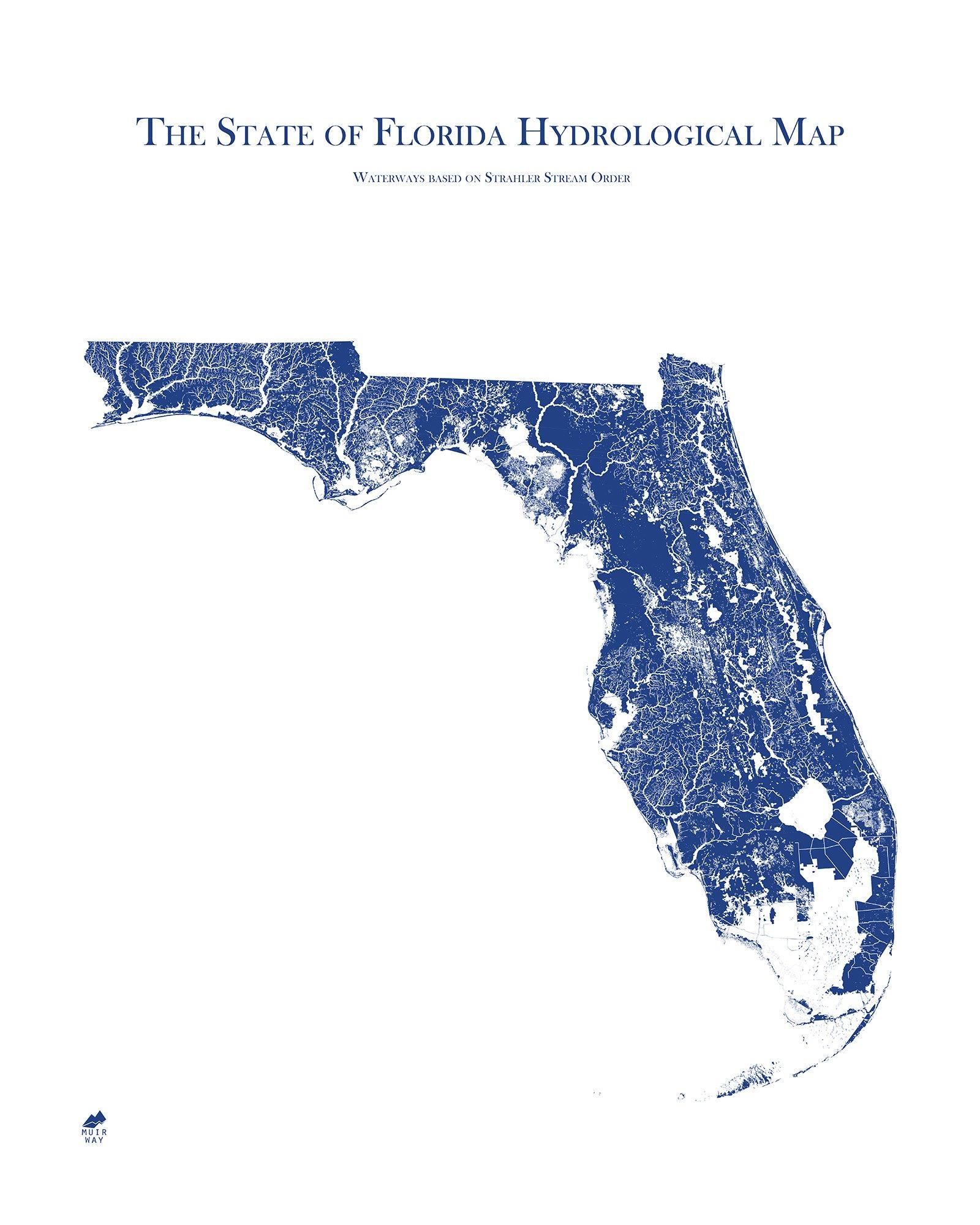 Florida Hydrological Map Florida State Map Map Of Florida Map Of Michigan
