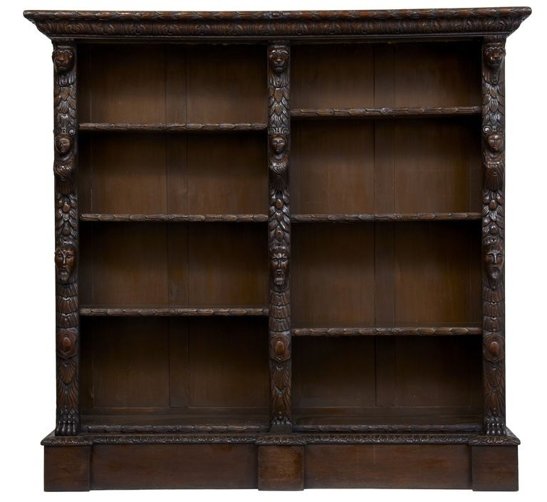 19th Century Antique Carved Oak Bookcase From A Unique