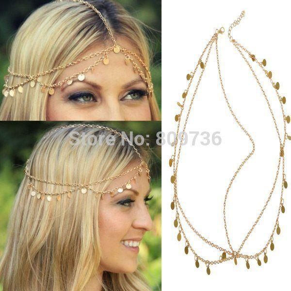 New Bohemian Women Circle Drop Head Chain Jewelry Forehead Dance