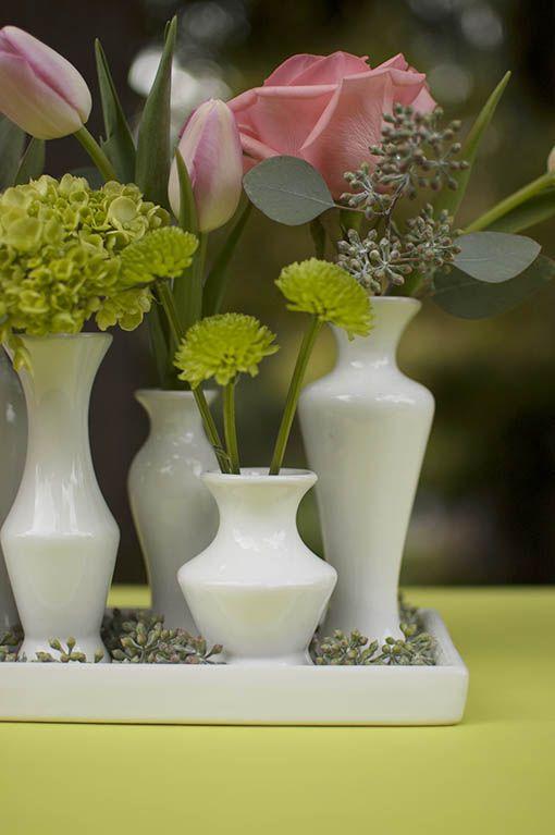 Ceramic Vase Cluster On Tray Set Modern Centerpiece White Modern Centerpieces Tray Decor Bud Vase Centerpiece