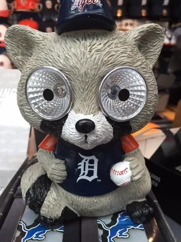 MLB Forever Collectibles Detroit Tigers Resin Solar Raccoon