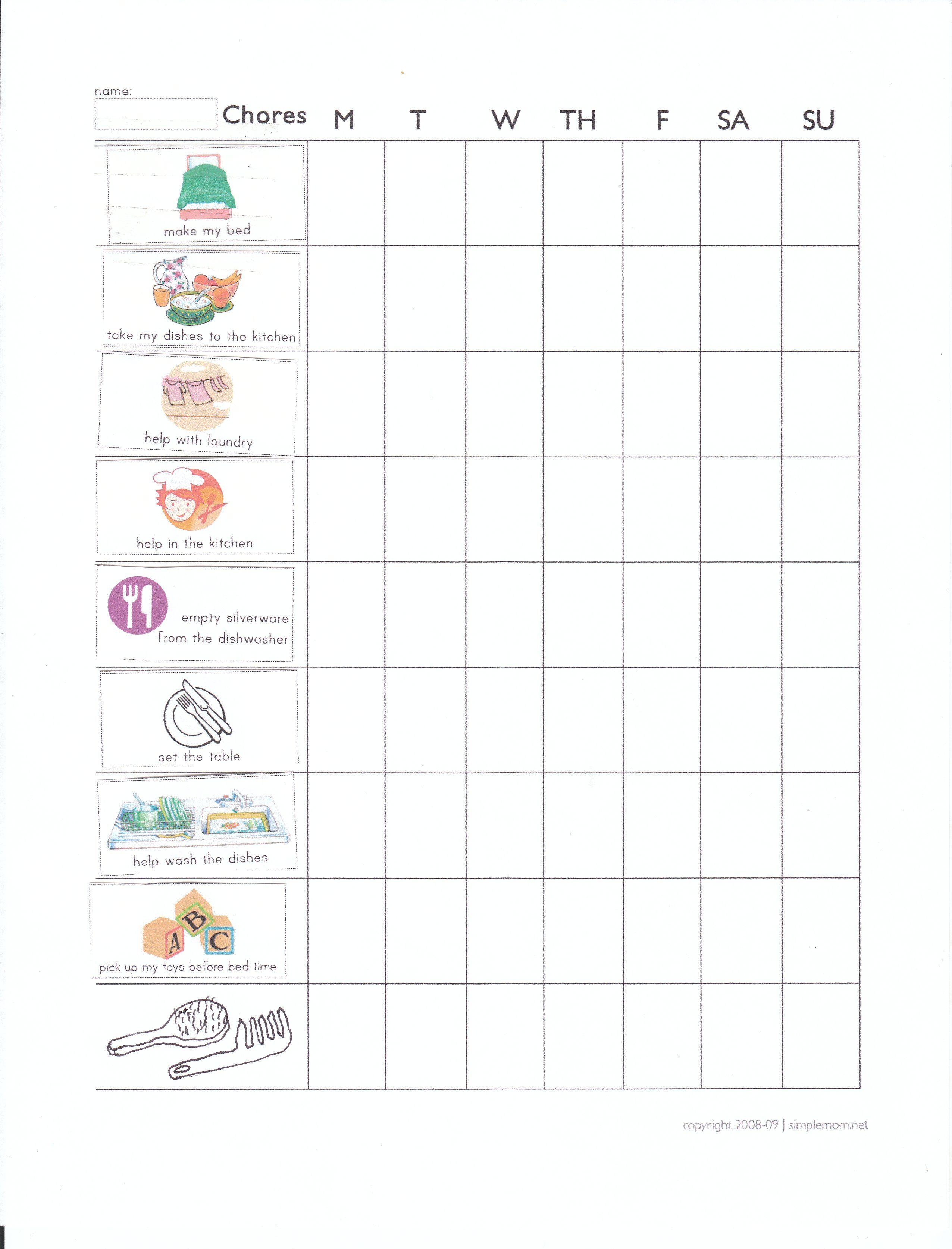 Chore chart for 35 yearolds Supermom Pinterest