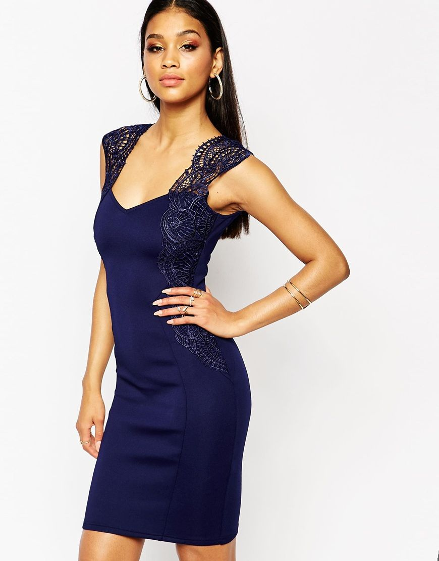 Lipsy bodycon dress with lace applique shoulder clothes