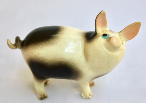 Hagen Renaker Ceramic Big Papa Pig 2078 By Curiousandvintage Papa Pig Pig Pig Feet