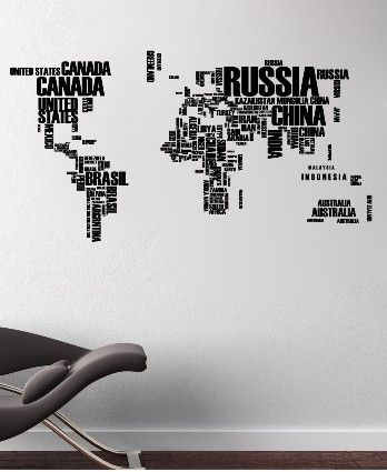 World map in words removable vinyl quote wall decal vinyl quotes world map in words removable vinyl quote wall decal gumiabroncs Image collections