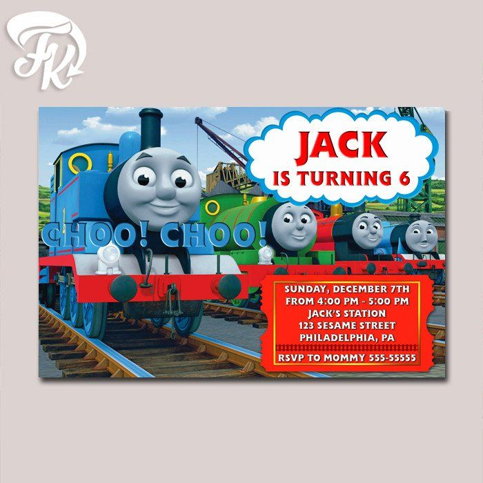 Thomas and Friends Birthday Party Card Digital Invitation Kid ...