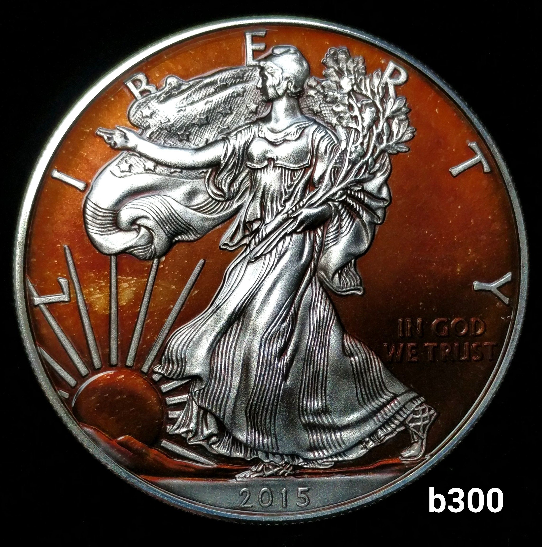 2015 Rainbow Toned Silver Eagle 1oz 999 Fine On Sterling Silver Bezel B300 Silver Eagles Eagle Eagle Coin