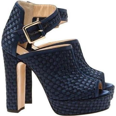 Bionda Castana Christa Woven Peep-Toe Sandals in Navy.