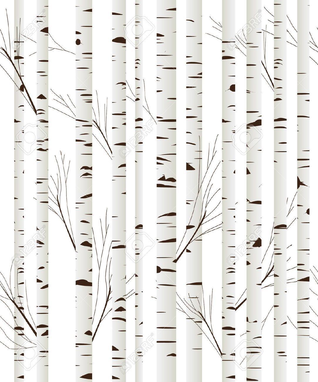 black and white birch tree wallpaper