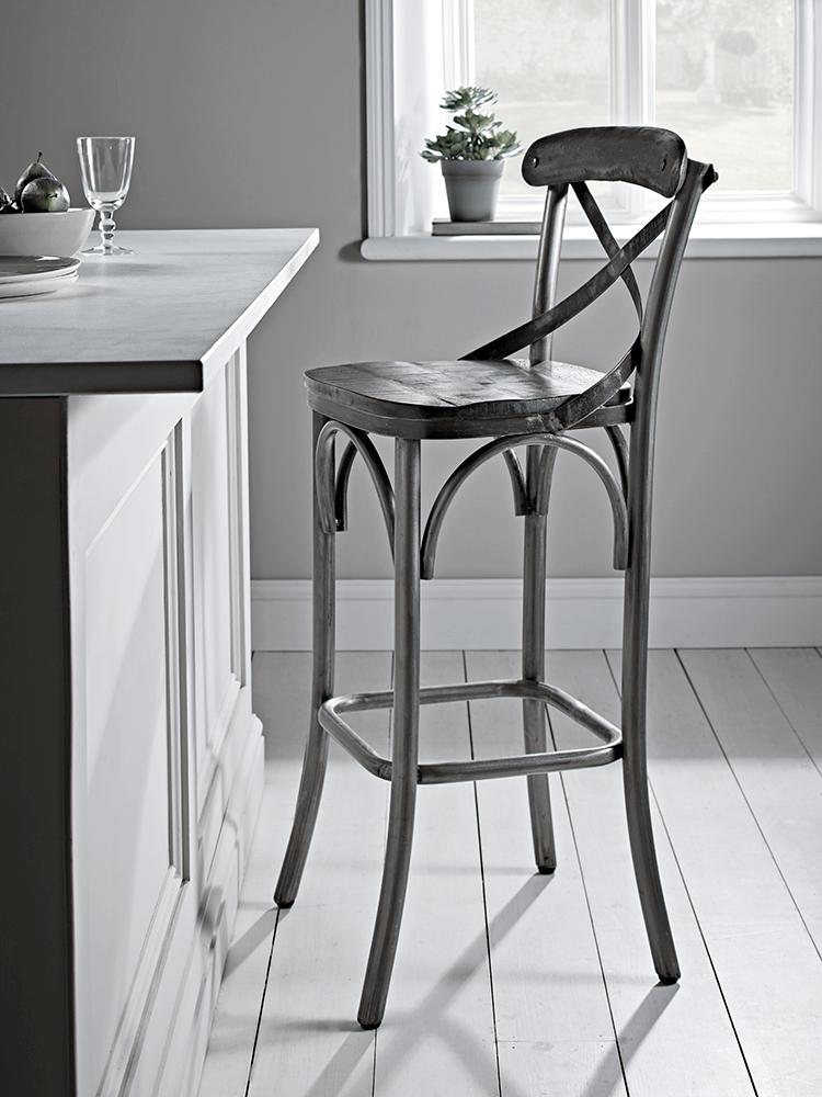 New Antique Zinc Cross Back Stool Breakfast Bar Chairs World