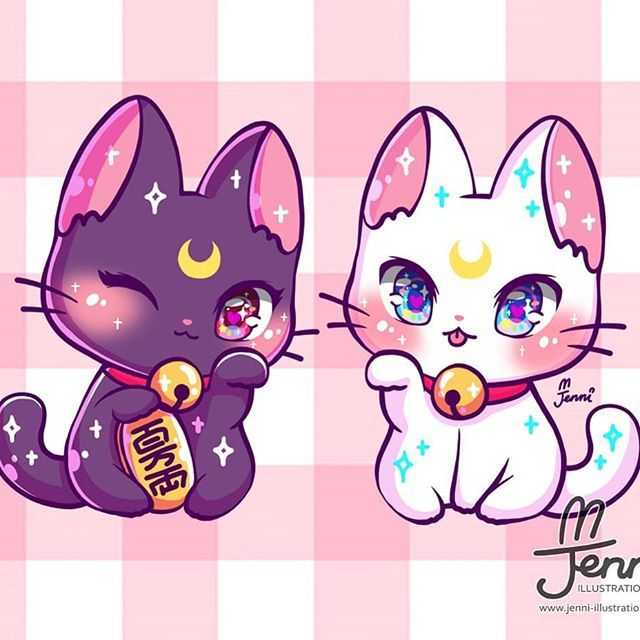 Lucky Cat Luna Artemis Luna Artemis Sailormoon Luckycat Magicalgirl Jennillustrations Cute Animal Drawings Kawaii Sailor Moon Cat Chibi Cat