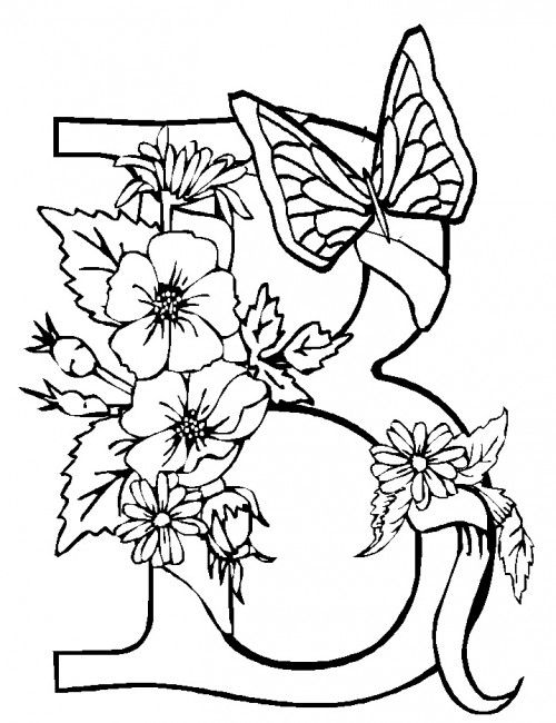 Letter B Butterfly And Flower Near The Coloring Page