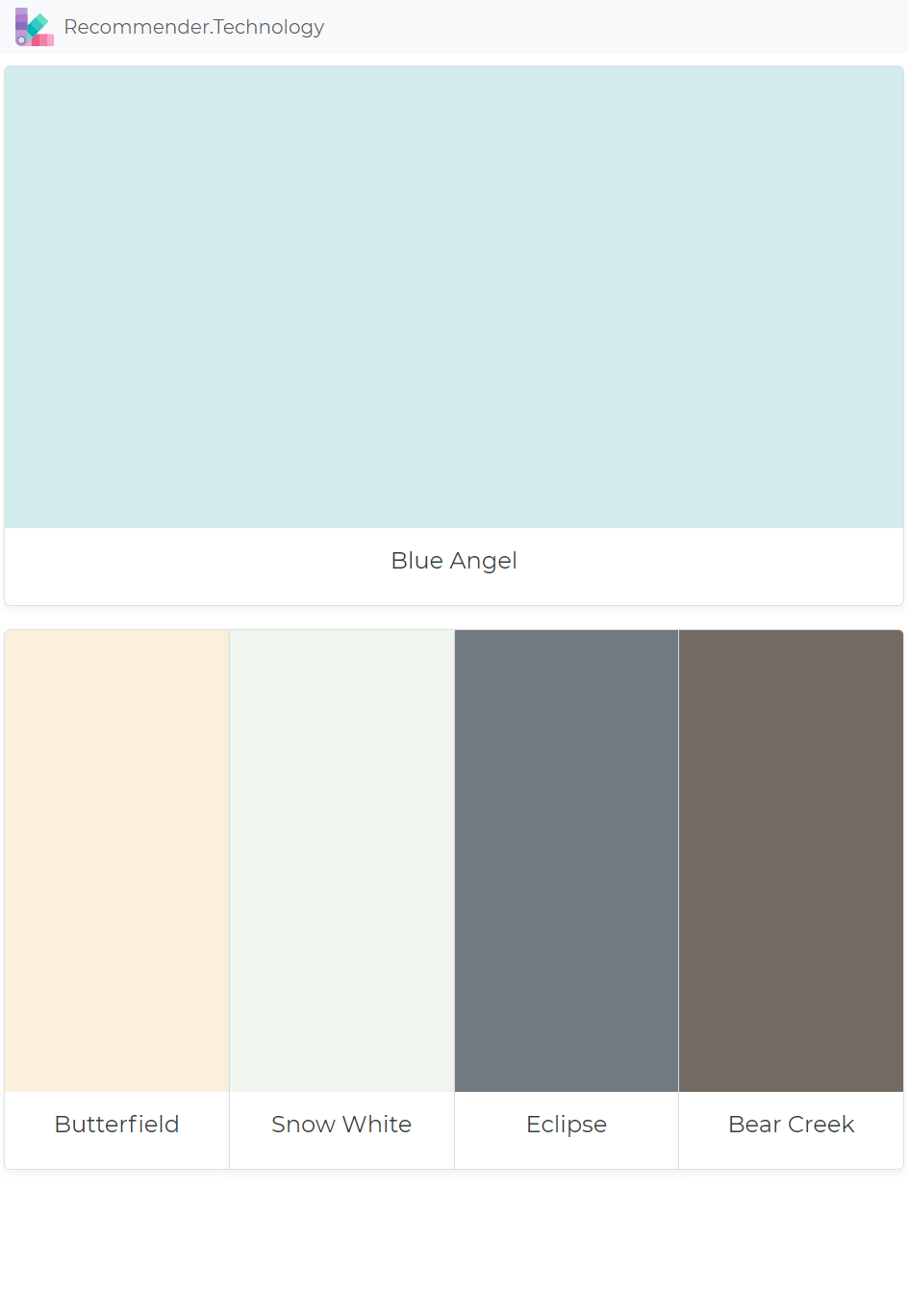 Blue Angel Erfield Snow White Eclipse Bear Creek Paint Color Palettes