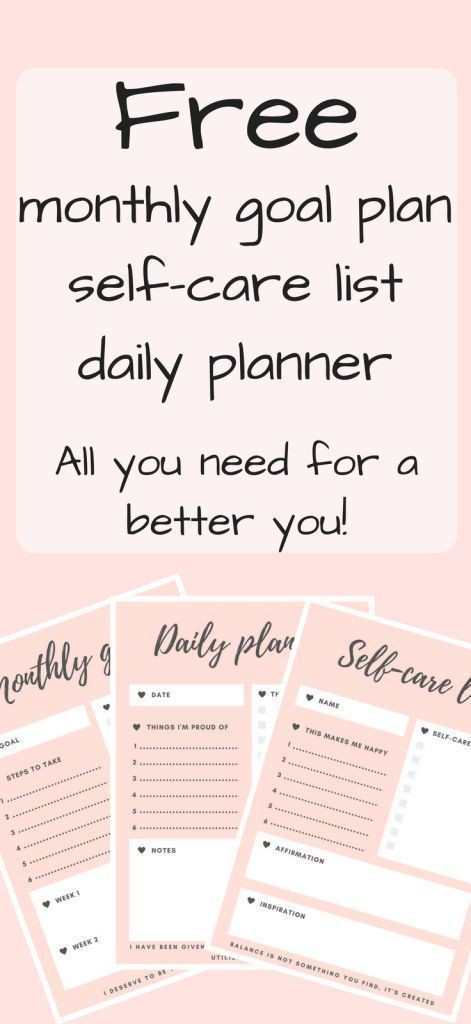 Free printable planners for a better you is part of Planner printables free, Fitness planner printable, Free daily planner, Health planner free, Goal planner printable, Daily planner printables free - Free printable planners for a better you Free printable planners to start working on a better you  Receive a selfcare list, daily planner and monthly goal planner mentalhealth selfcare selfgrowth free