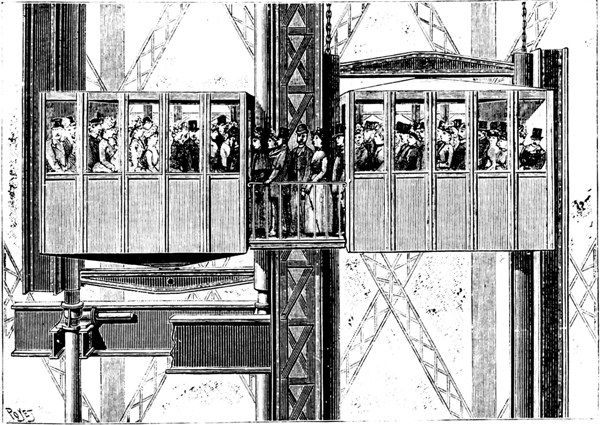 elevator systems of the eiffel tower 1889 passengers. Black Bedroom Furniture Sets. Home Design Ideas