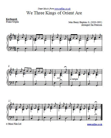 Piano Sheet Music Midi: We Three Kings Of Orient Are Is A Christmas Carol By The