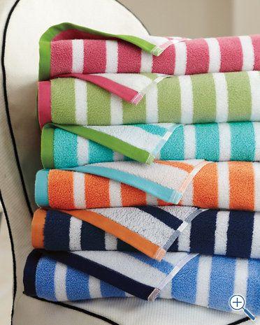 Garnet Hill Regatta Stripe Towels- ocean stripe, ocean solid and ocean dot  stripes for the bathroom