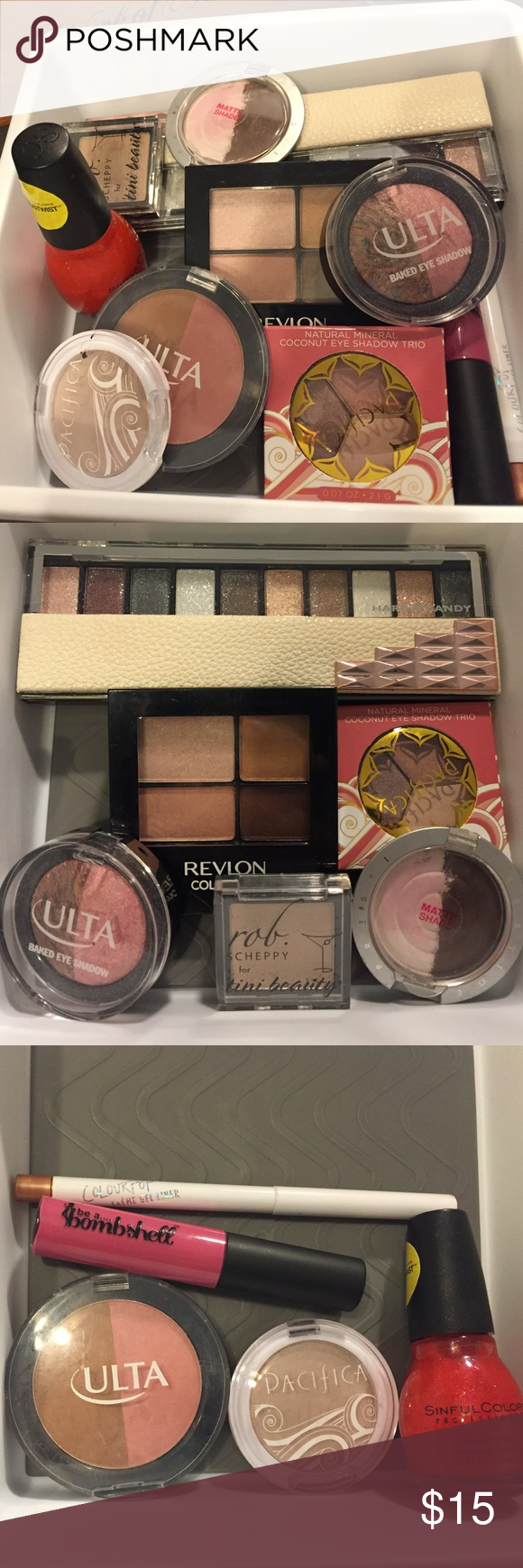 11 piece makeup lot Colour Pop Ulta Be A Bombshell 1 Hard Candy Guilty Pleasures Glitter Palette. 1 Ulta Baked Eyeshdow Duo -Sweet Dreams  1 Pacifica Natural Minerals Eyeshadow Trio -Skinny Dip Crush (NIB). 1 Prestige Matte Shadow Duo -Soulmates. 1 Revelon Quad - 505 Decadent. 1 Colour Pop Cream Gel Liner - Get Paid. 1 Be A Bombshell Lippie - Famous. 1 Ulta Blush/Bronzer Duo Splendor/Bronzer. 1 Pacifica Highlighter/Eyeshadow - Ethereal. 1 Sinful Colors Glitter Polish - Horizon Shine…