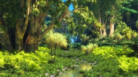 Jungle Stream Forest Digital Abstract 3d Cg Jungle Scene Abstract Jungle