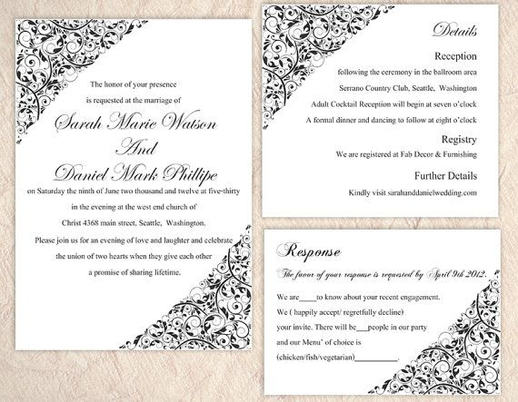 DIY Wedding Invitation Template Set Download Printable Invitation