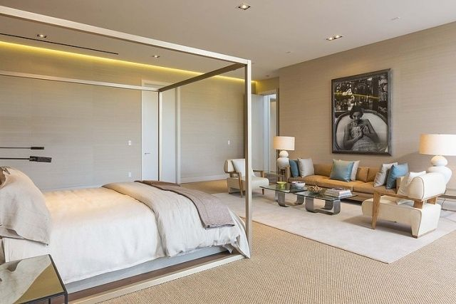 Schlafzimmer modern weiß  schlafzimmer modern beige tapeten indirekte beleuchtung decke poster ...