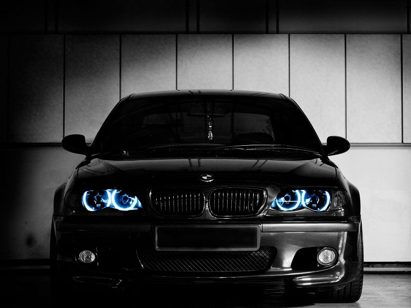 black bmw e46 with angel eyes hd wallpaper on mobdecor. Black Bedroom Furniture Sets. Home Design Ideas