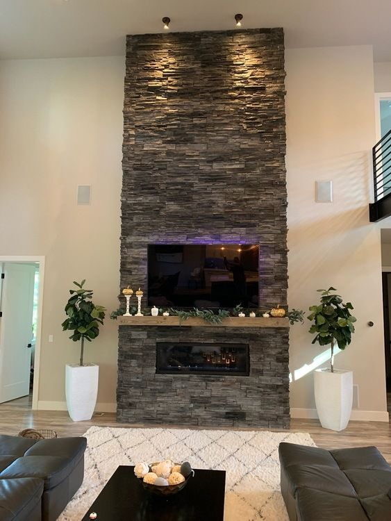 Nw Stacked Stone Fireplace Remodel Fireplace Feature