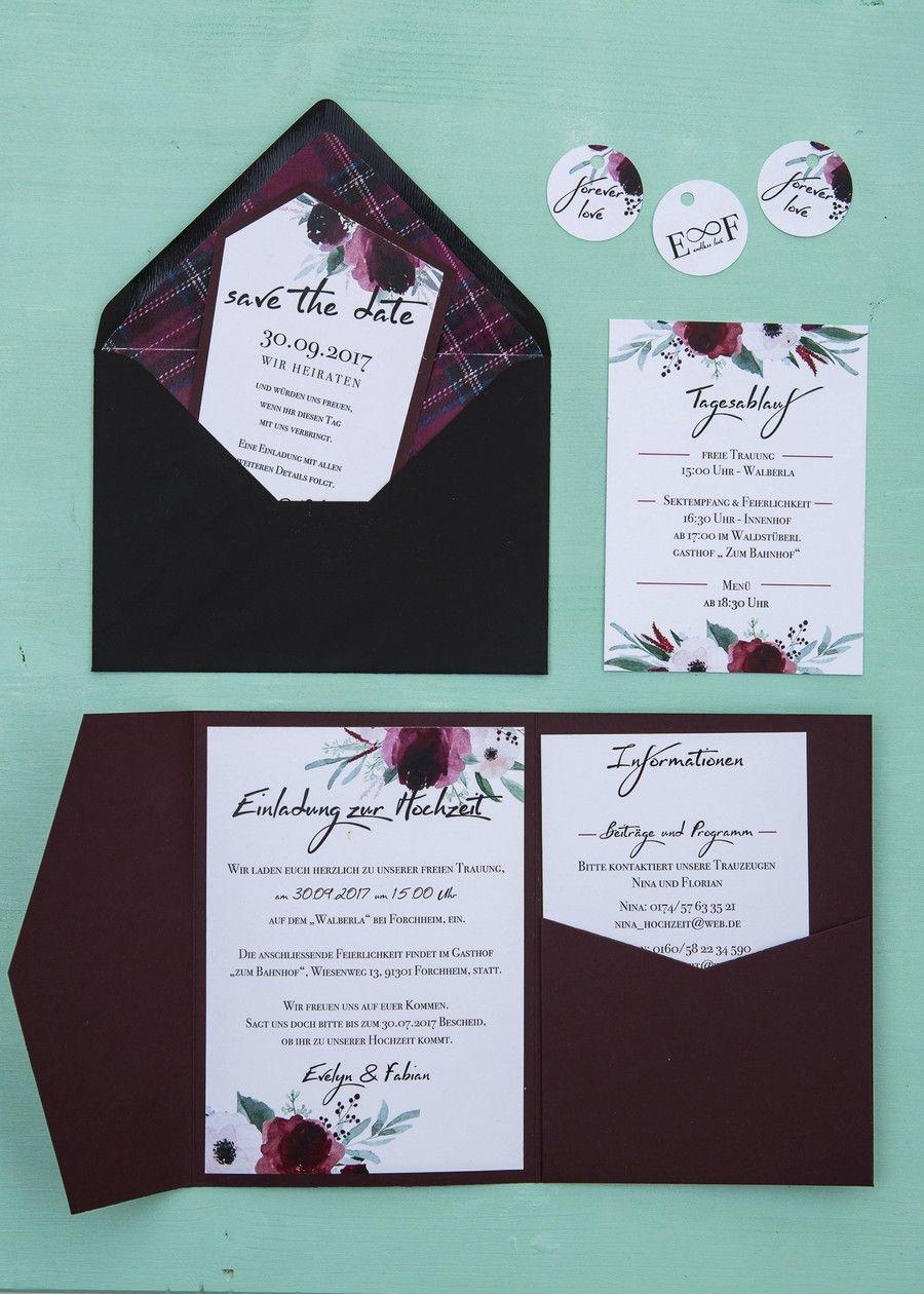 Hochzeit Einladung Blumen Dunkelrot Schwarz