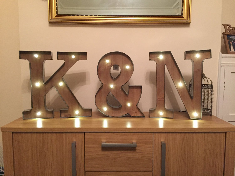 Freestanding Initials Wooden Rustic Led Light Up Letters Letter Lights Wedding Initials Marquee Letters Wall Moun Light Up Letters Light Letters Led Lights