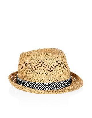 8f22bd24d Aztec Monochrome Trim Trilby Hat | Girls Spring 16 | Trilby hat ...