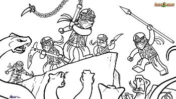 Printable coloring page for LEGO Ninjago NRG Ninjas VS