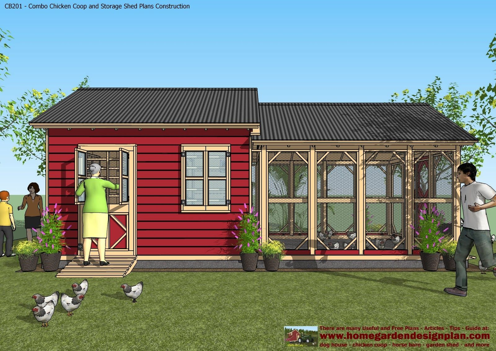 home garden plans: CB201 - Combo Plans - Chicken Coop ...