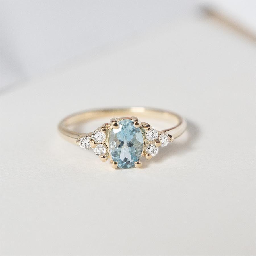 Oval aquamarine diamond ring cute engagement rings