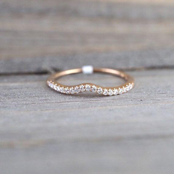 14k Rose Gold V Groove Curve Dainty Thin Diamond Wedding Engagement Band Brillia Custom Diamond Engagement Rings Thin Diamond Band Diamond Band Engagement Ring