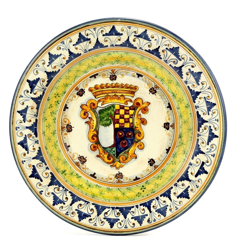 MAJOLICA STEMMA GEOMETRIA: Wall Plate with Renaissance Crest (14D ...