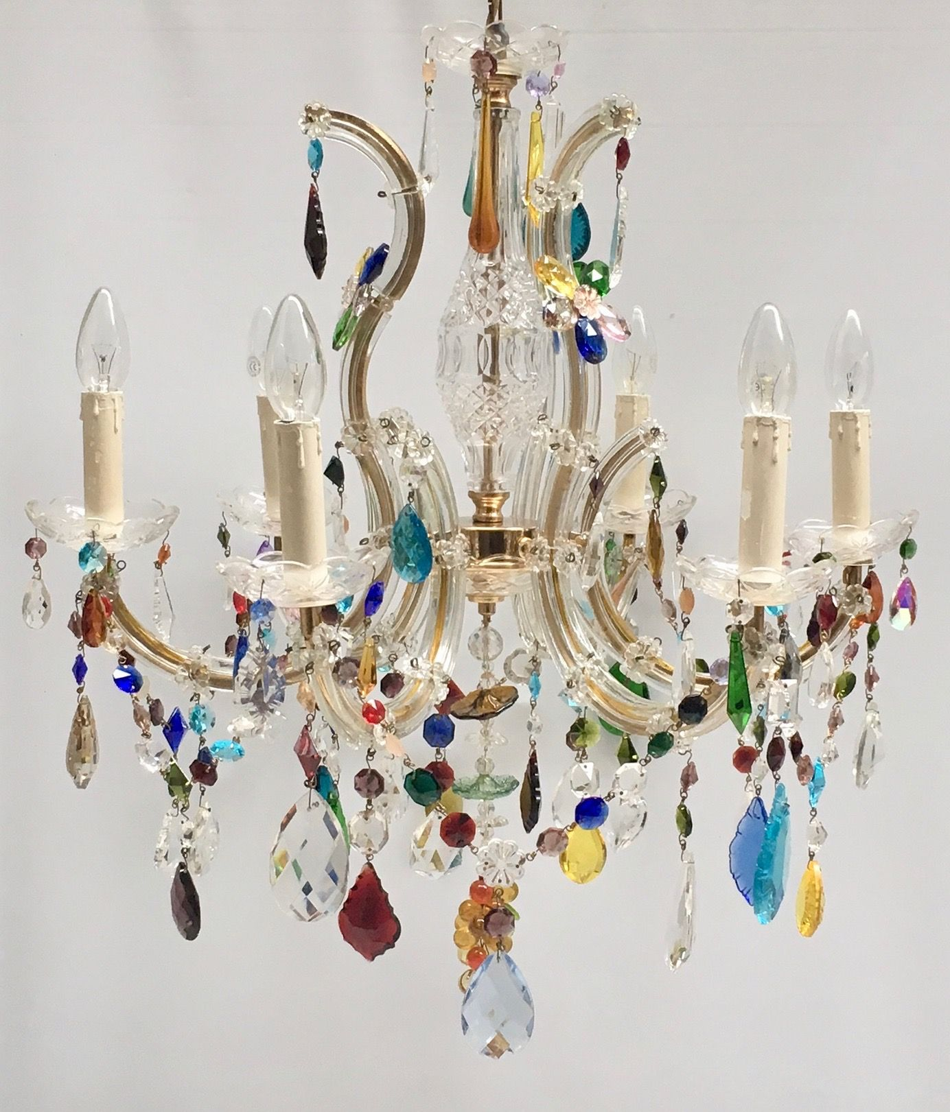 6 Arm Marie Therese Chandelier With Coloured Drops Flowers And Swags Measures 60cm Width X