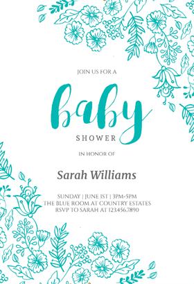 elegant flowers printable invitation template customize add text