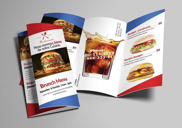 Fast Food Menu Trifold Brochure By Afzaalgraphics On